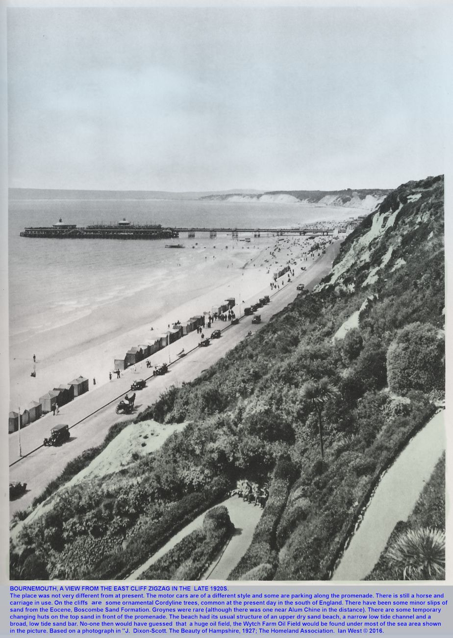 View from the East Cliff Zigzag of the Undercliff Drive, East, Bournemouth, Dorset, in the 1920s, when there were still horse-drawn carriages on this road