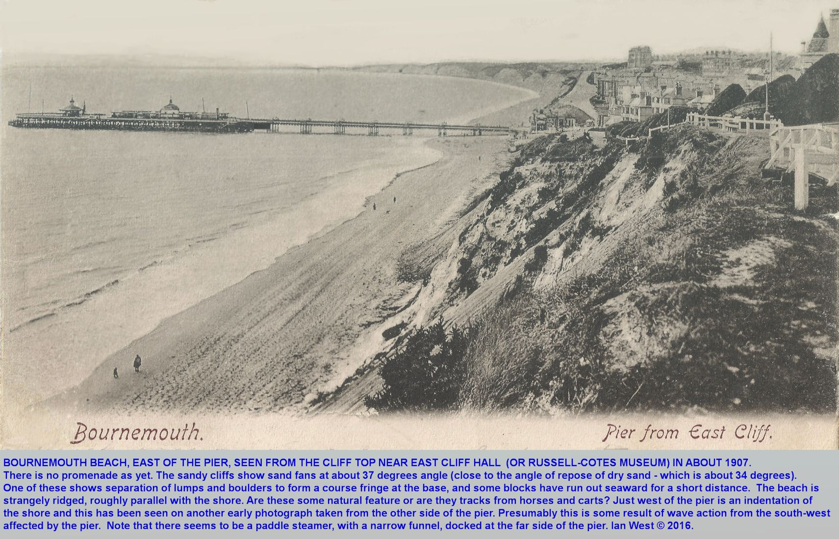 An old photograph of Bournemouth Pier, the beach and the cliffs from a viewpoint on the East Cliff, Bournemouth, Dorset, near the present Russell-Cotes Museum, taken round about 1905 and before the promenade was constructed