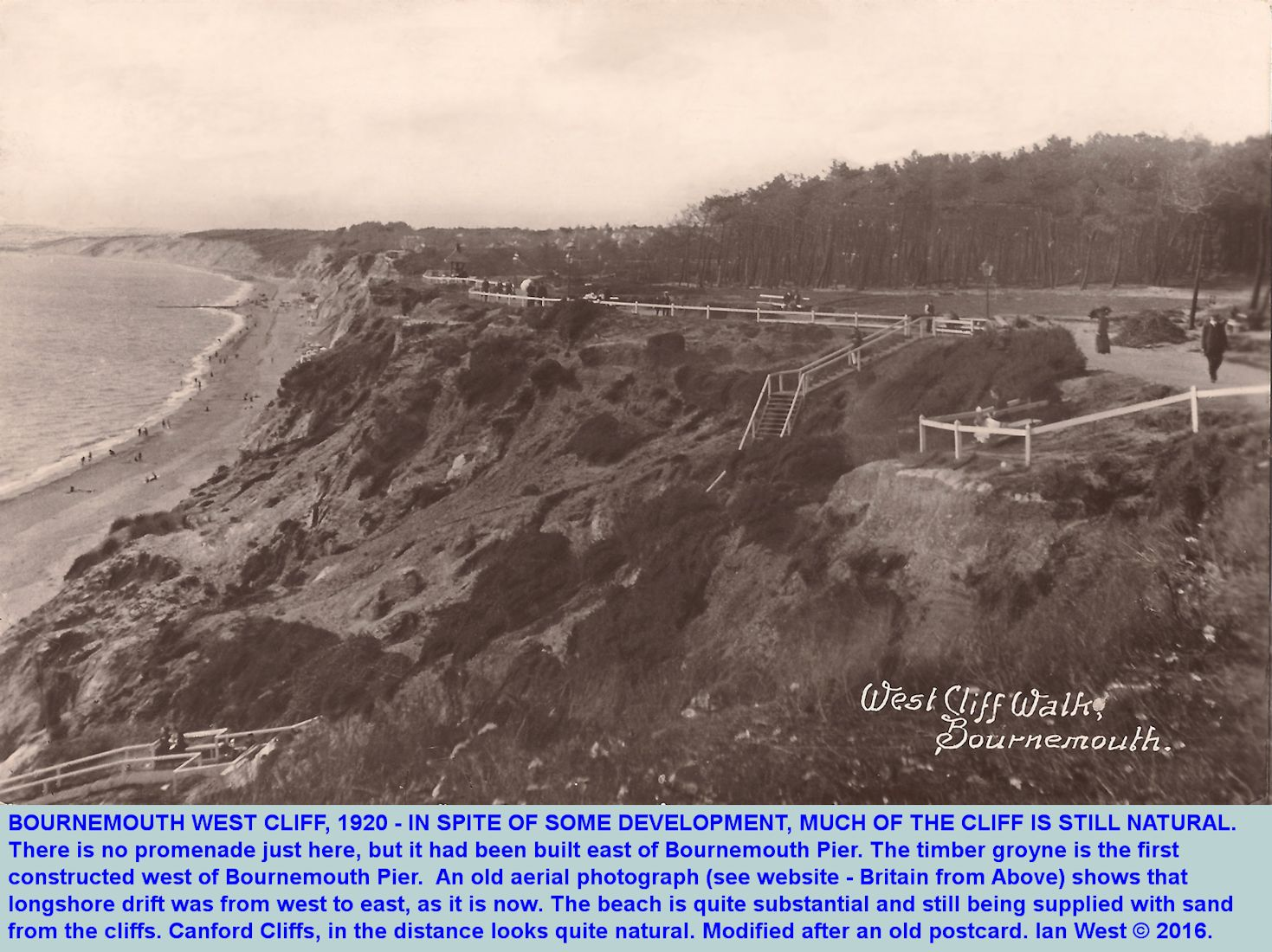 The West Cliffs of Bournemouth, Dorset, in 1920, when they were still partly in natural condition, in spite of development at Chines