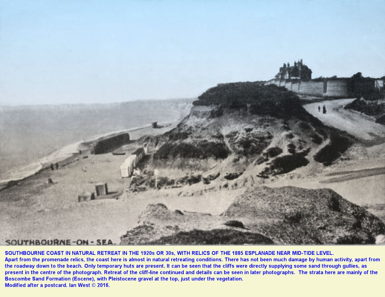 A view from the cliff top of the coast erosion and destruction of the old sea wall and promenade at Southbourne, Bournemouth, Dorset, probably in about the late 1920s