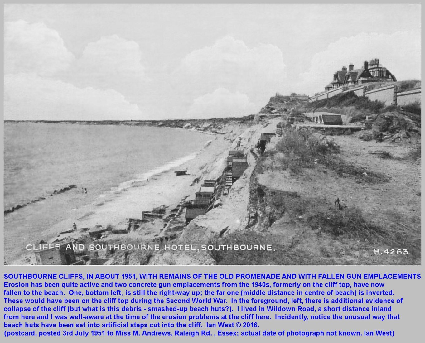 Southbourne cliff collapse near the stepped huts, at the site of the former, 1900, sea-front houses, with fallen, concrete gun emplacements from the Second World War, 1940s, on the beach, photograph in about 1951