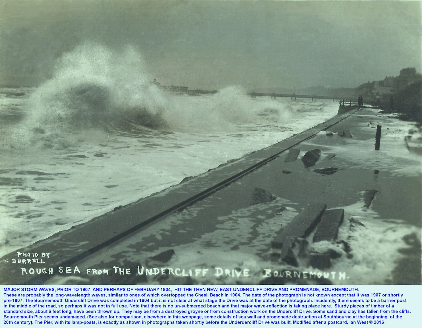 A major storm, with wave reflection, hits the new promenade, just east of Bournemouth Pier, Dorset, in about 1904