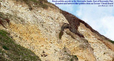 Old beach gravel of rounded flints east of Boscombe Pier, Dorset