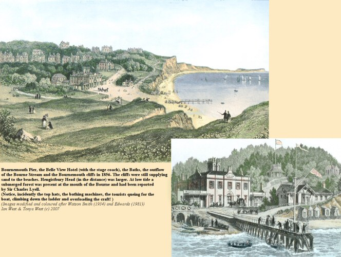 A view of Bournemouth in its early days of development and when the cliffs were still a natural source of supply of sand and gravel to the beaches and not shut off by a seawall and promenade
