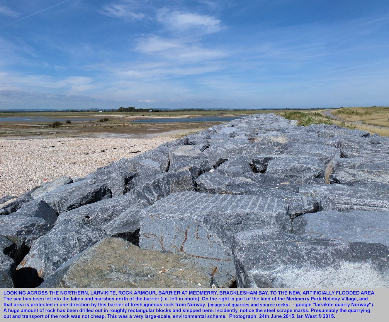 A very robust embankment of larvikite rock armour, north of Medmerry Park Holiday Village, southern part of Bracklesham Bay, Sussex, 24th June 2015