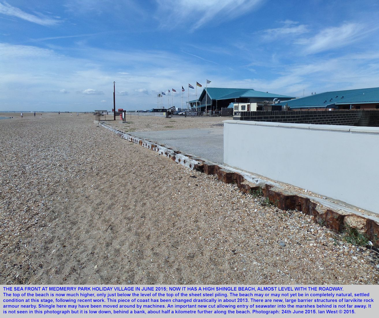 The top of the beach at Medmerry Park Holiday Village, Bracklesham Bay, Sussex, near Selsey Bill, 24th June 2015