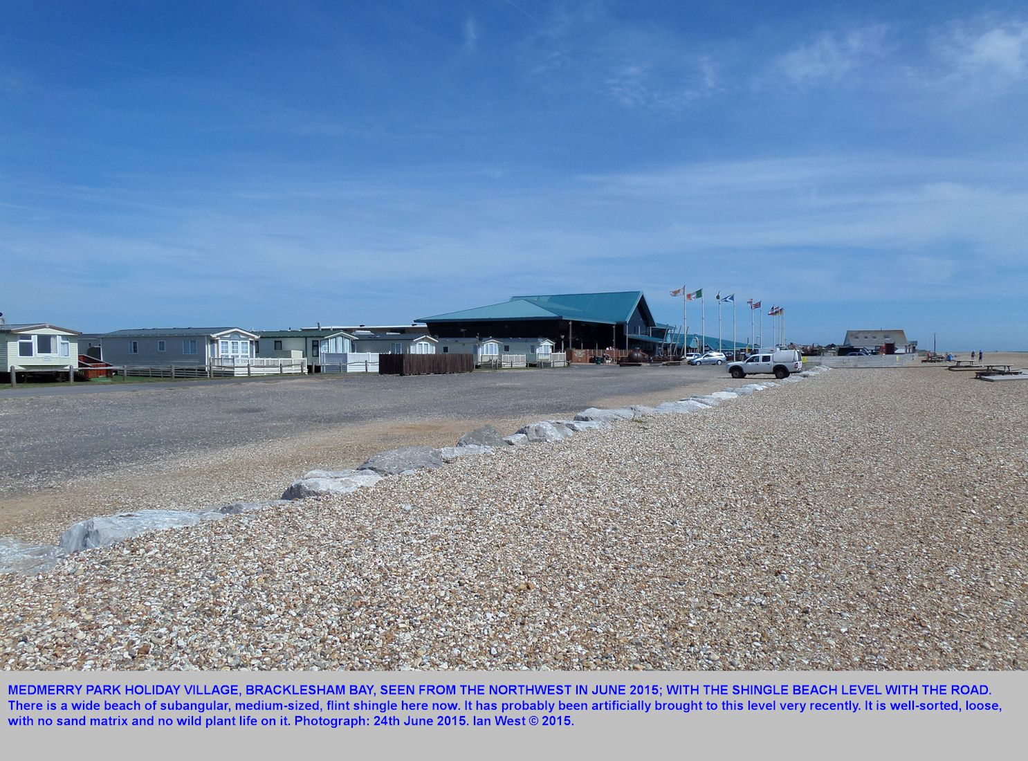 Medmerry Park, Bracklesham Bay, Sussex, seen from the northwest, after new sea defence measures were put in place