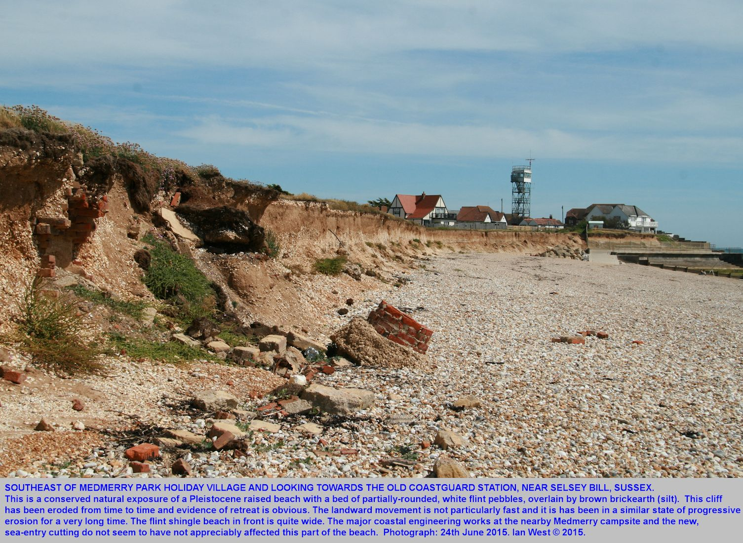 The raised beach cliff, southeast of Medmerry Park area and towards the old coastguard lookout, Bracklesham Bay, Sussex, 24th June 2015