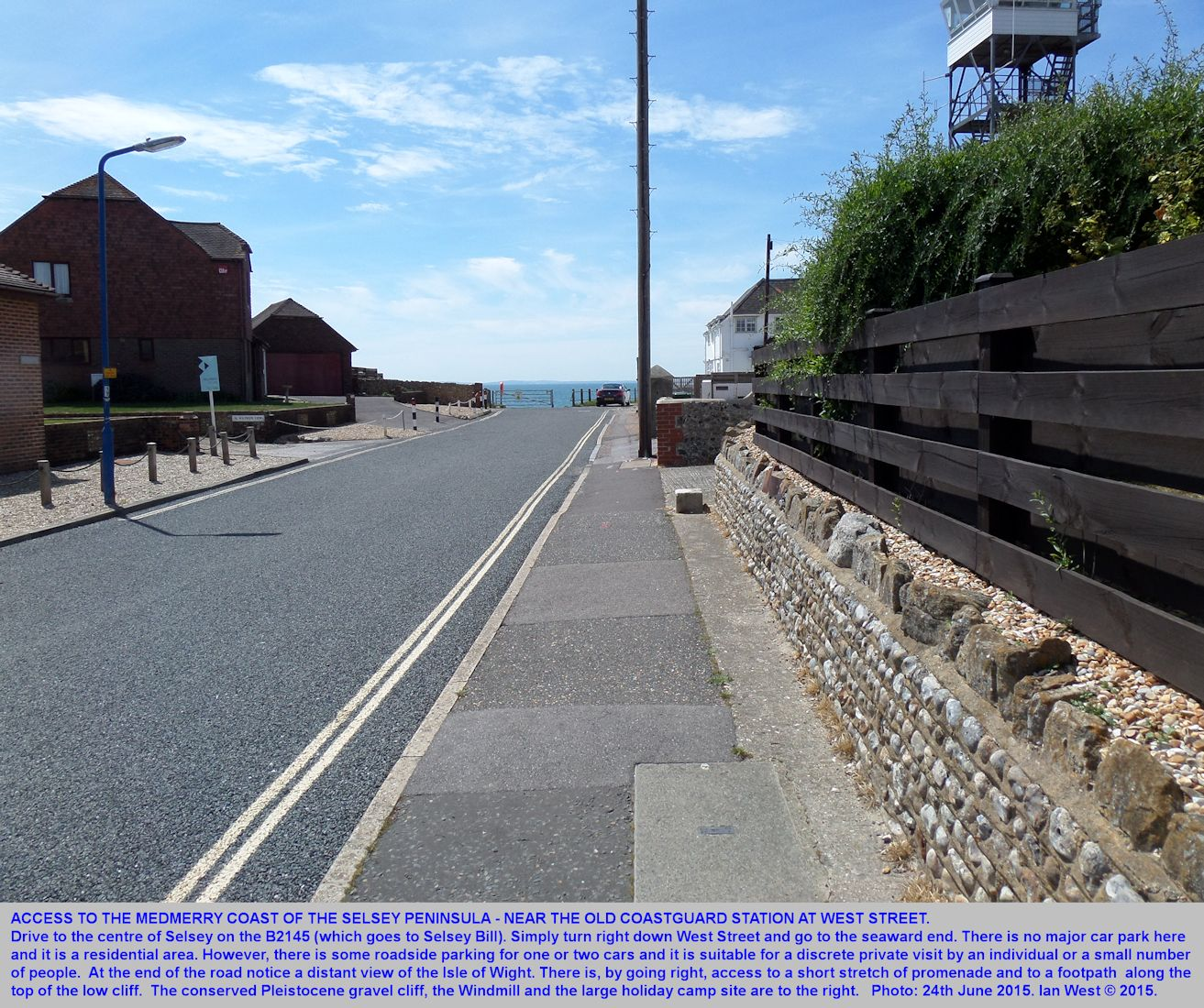 West Street, Selsey, is an access route to the coast of Medmerry at southeastern, Bracklesham Bay, Sussex, photograph 24th June 2015