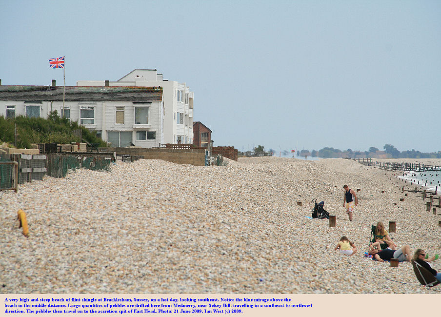 A high and steep shingle beach at Bracklesham seafront, Bracklesham Bay, Sussex, June 2009