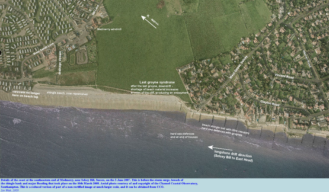 A close aerial view of the southeastern part of the Medmerry coast, Bracklesham Bay, near Selsey Bill, Sussex, June 2007