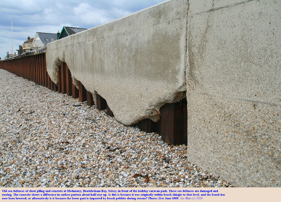 Sheet piling and concrete damaged by storms at the caravan site , Medmerry, Selsey, Sussex, 21st June 2009