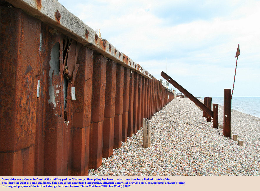 Old sea defences of sheet piling at Medmerry, Selsey, Sussex, 21st June 2009