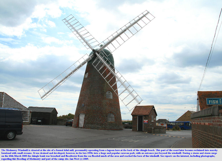 Medmerry Windmill, Selsey, Sussex, is at the site of a former tidal mill, and is at the margin of the low marshy ground of Medmerry, photo June 2009