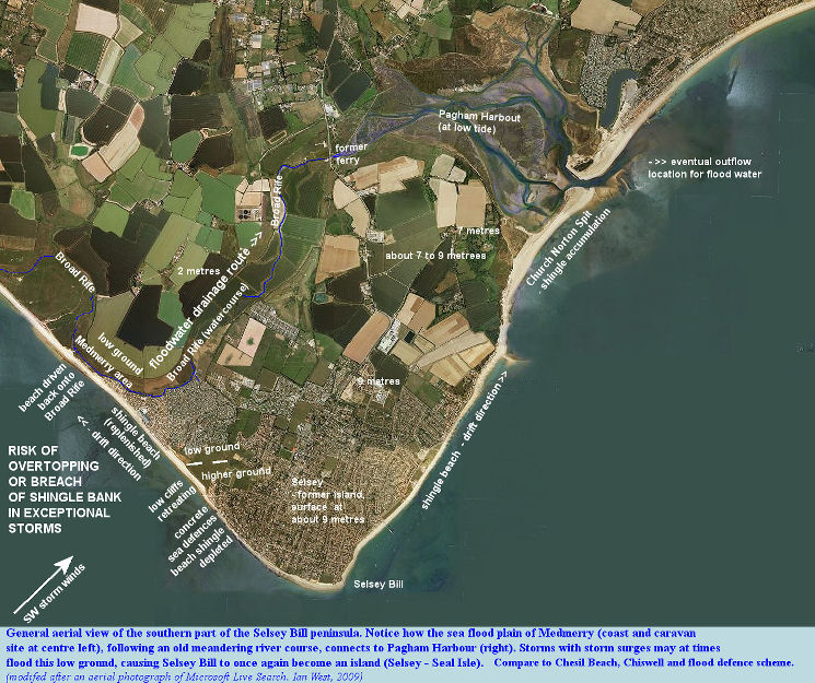 An aerial photograph of the southern part of the Selsey Peninsula, Sussex showing possible problems of sea flooding in the Medmerry area