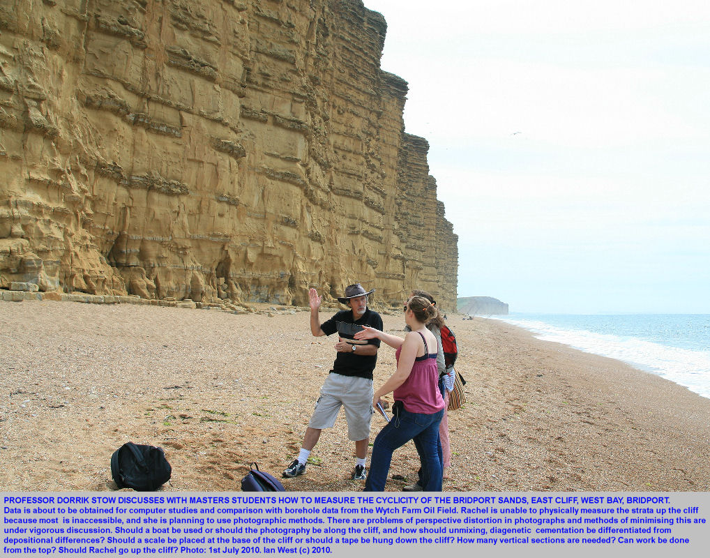 Professor Dorrik Stow discusses a research programme on the cyclicity of the Bridport Sands, at East Cliff, West Bay, Bridport, Dorset, 2010