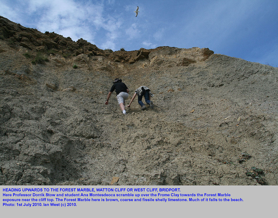 Professor Dorrik Stow and student Ana Montesdeoca ascend a cliff of Frome Clay towards the Forest Marble limestones at West Cliff or Watton Cliff, West Bay, Bridport, Dorset, 2010