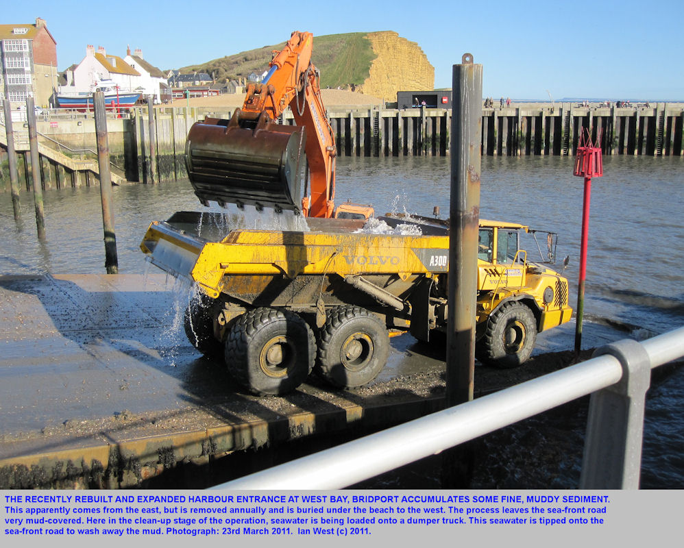 Filling a dumper truck with seawater to wash the road after sediment removal from the harbour, West Bay, Bridport, Dorset, March 2011