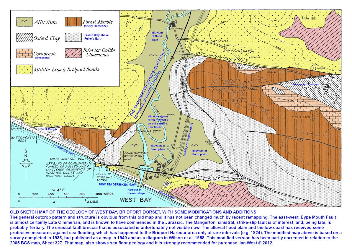 A revised version of an old geological sketch map of the area around West Bay, Bridport, Dorset