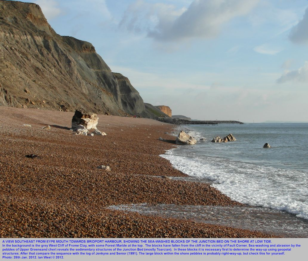 A view southeast from Eype Mouth showing the Junction Bed blocks and West Cliff of Frome Clay, west of Bridport, Dorset, January 2012