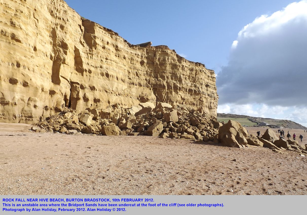 A rock fall of the 10th February 2012, near Hive Beach, Burton Bradstock, Dorset, Alan Holiday photograph