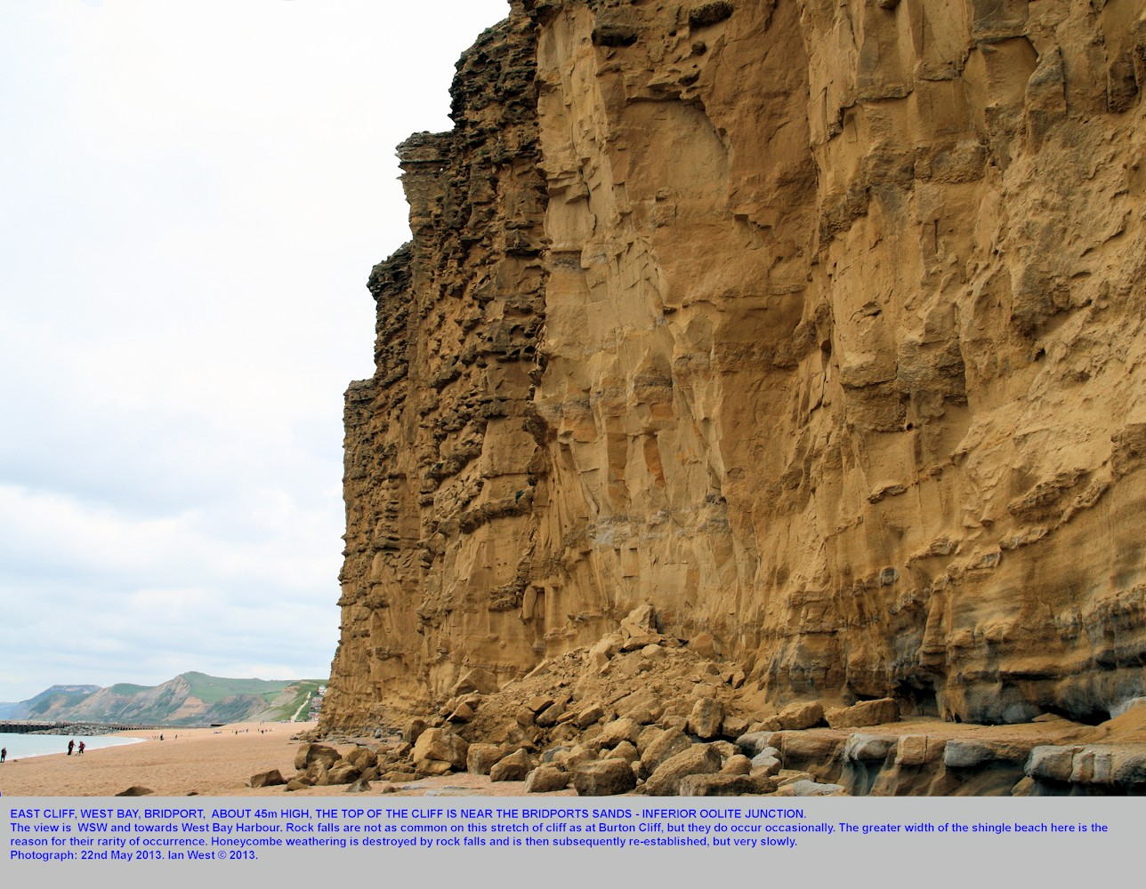 East Cliff of Bridport Sands Formation, West Bay, Bridport, Dorset, May 2013, showing the remains of an isolated rock fall