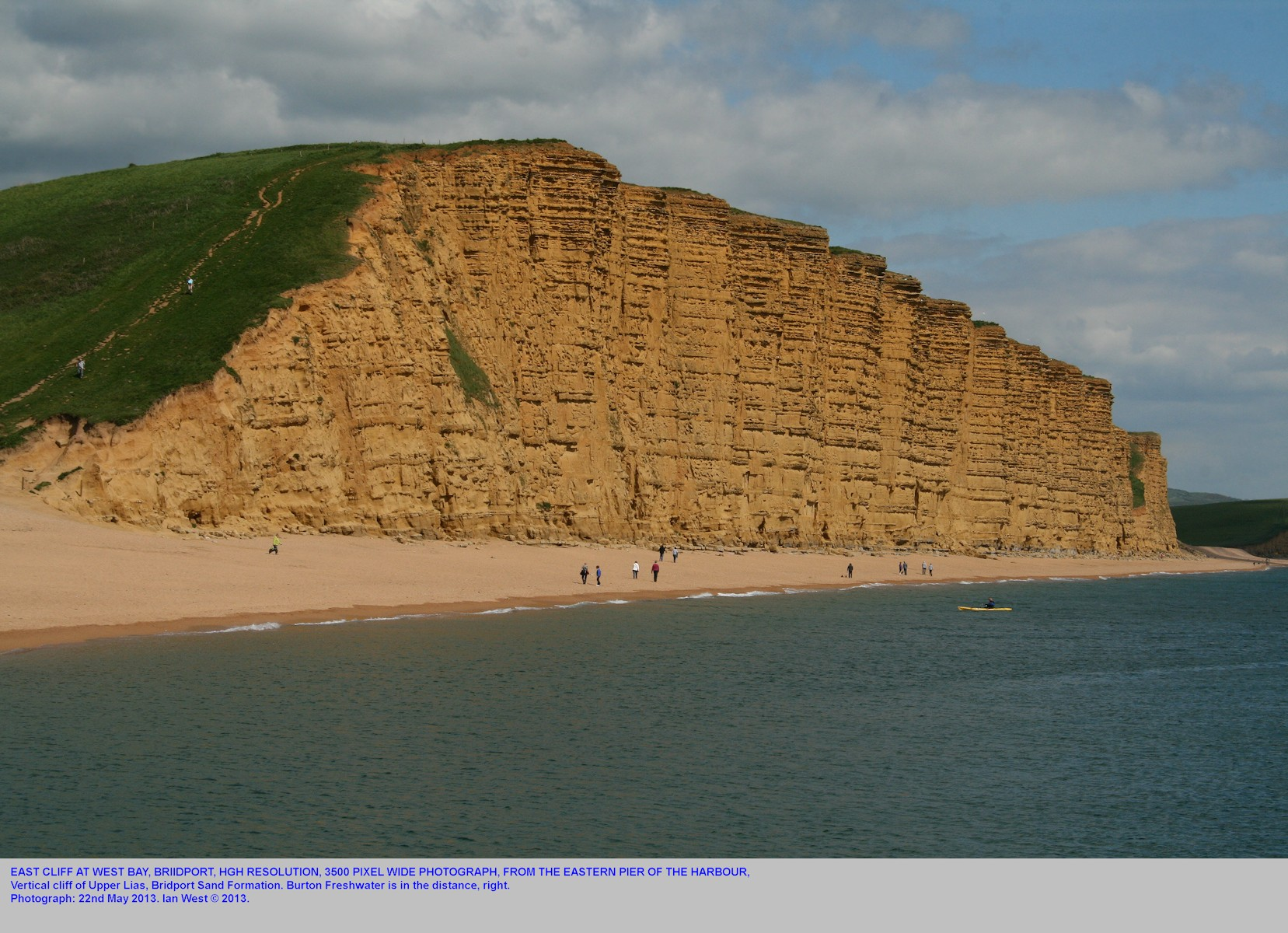 East Cliff, West Bay, Bridport, Dorset, seen from the eastern pier of the harbour, high resolution photograph, May 2013