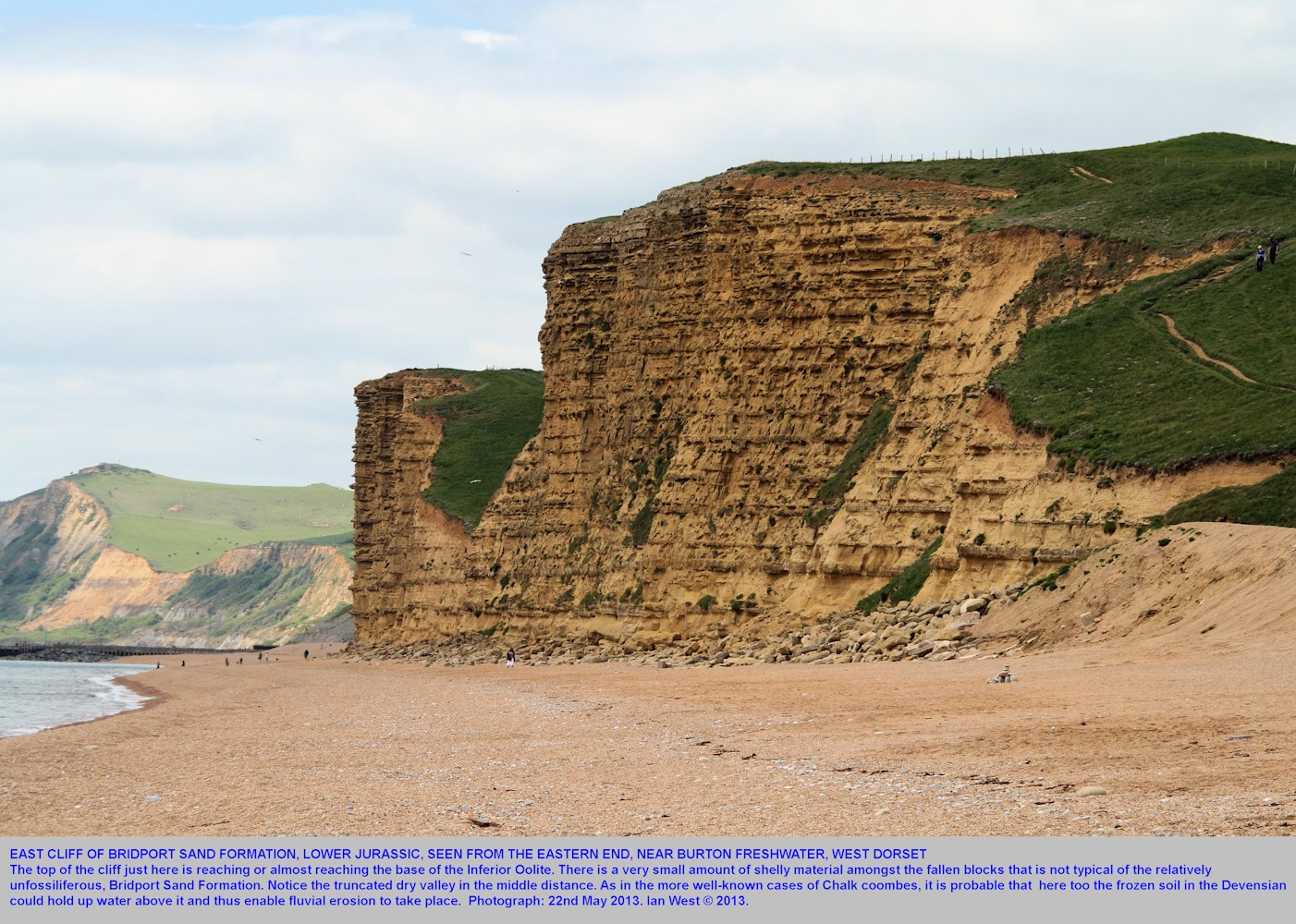 East Cliff, West Bay, Bridport, Dorset, seen from the eastern, Burton Freshwater end, May 2013