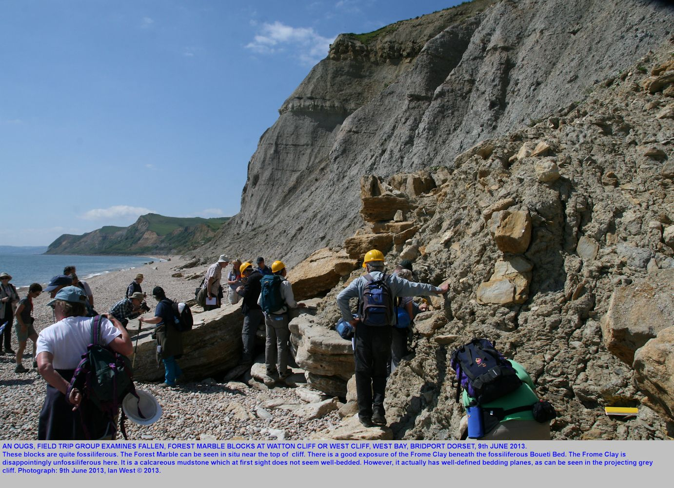 An OUGS field trip group examine fallen blocks of Forest Marble at Watton Cliff, West Bay, Bridport, Dorset, June 2013