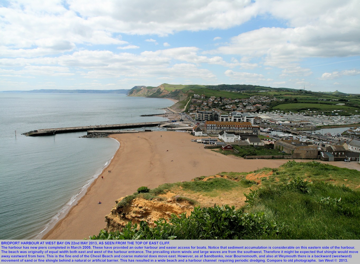 An overview of Bridport Harbour, West Bay, Bridport, Dorset, as seen from the top of East Cliff, 22nd May 2013