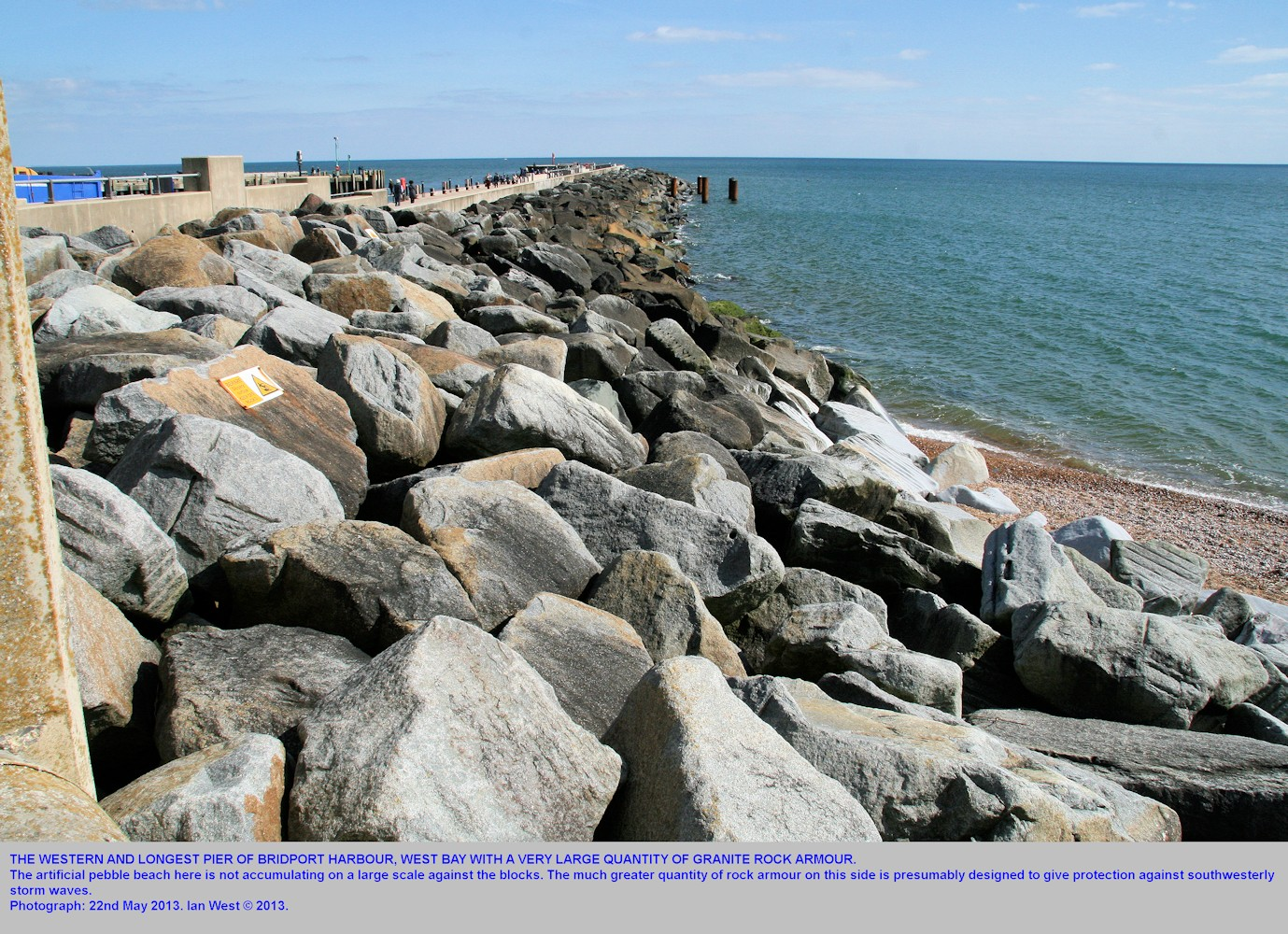 A large quantity of granitic rock armour at the western and larger pier of Bridport Harbour, West Bay, Bridport, Dorset, 22nd May 2013