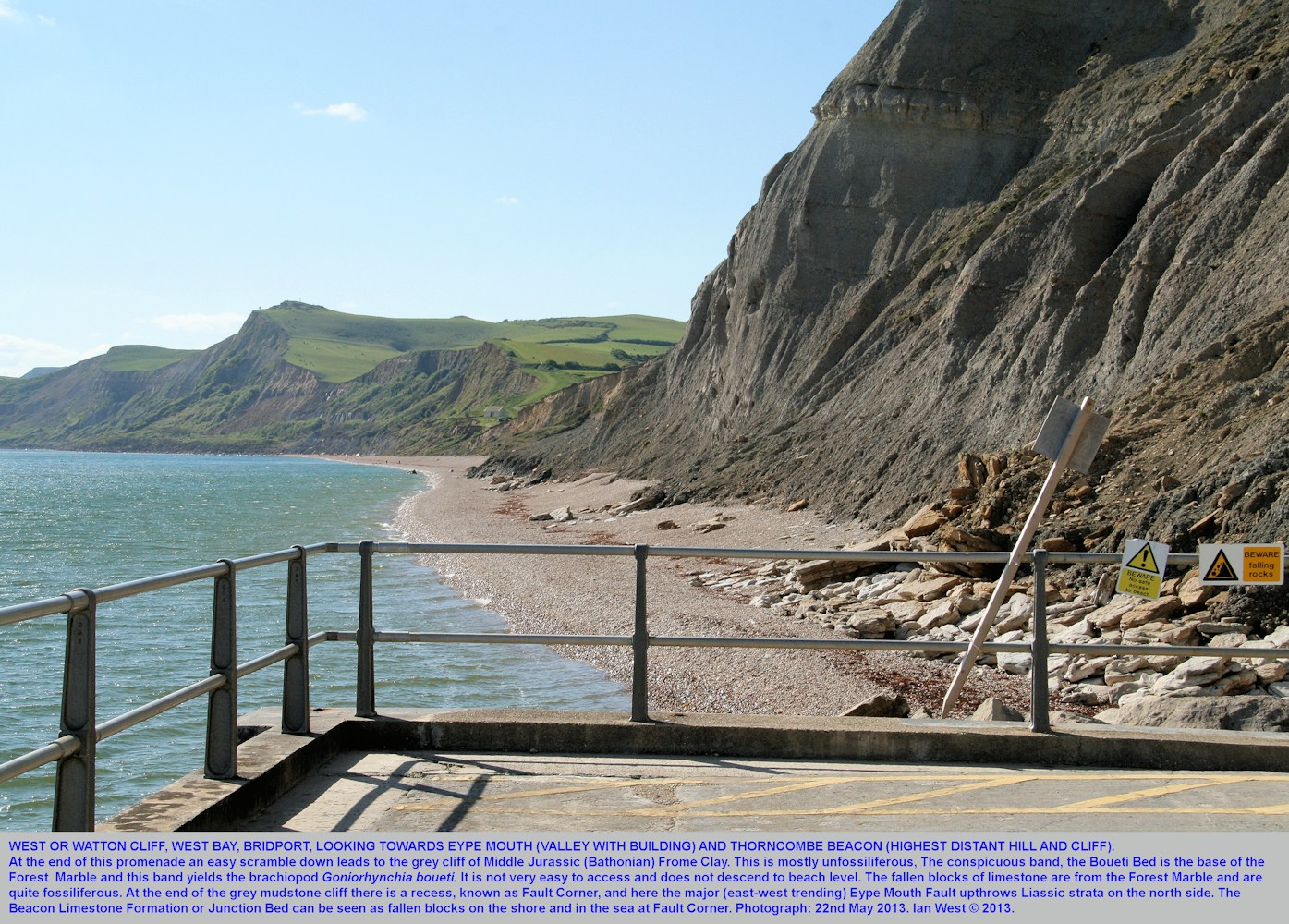 A view from the western end of the promenade, West Bay, Bridport, Dorset, showing West Cliff or Watton Cliff and on to Thorncombe Beacon, 22nd May 2013
