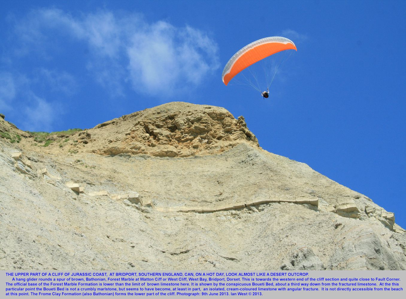 A hang glider passing a Forest Marble spur at Watton Cliff, West Bay, Bridport, Dorset, 9th June 2013