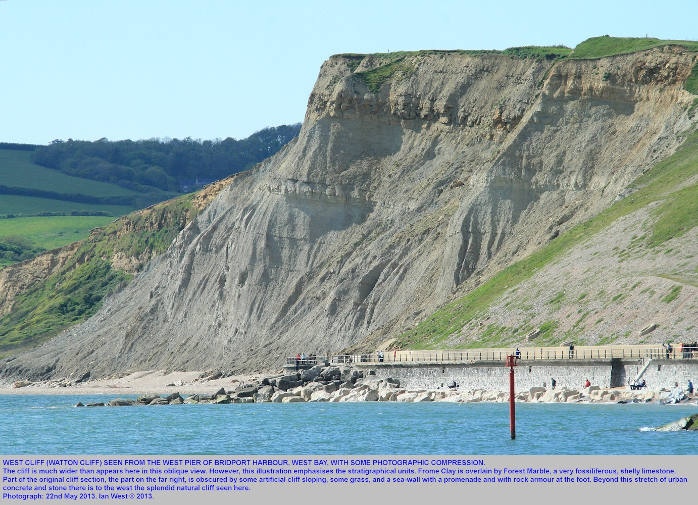 An overview of West Cliff, West Bay, Bridport, Dorset, seen from the western pier of Bridport Harbour, May 2013