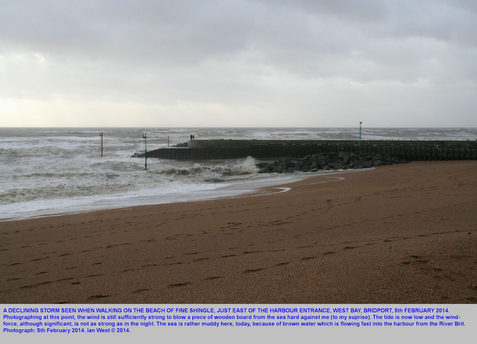 A storm that was bad in the night, now declining and seen from the fine shingle, east of the harbour, West Bay, Bridport, Dorset, 5th February 2014