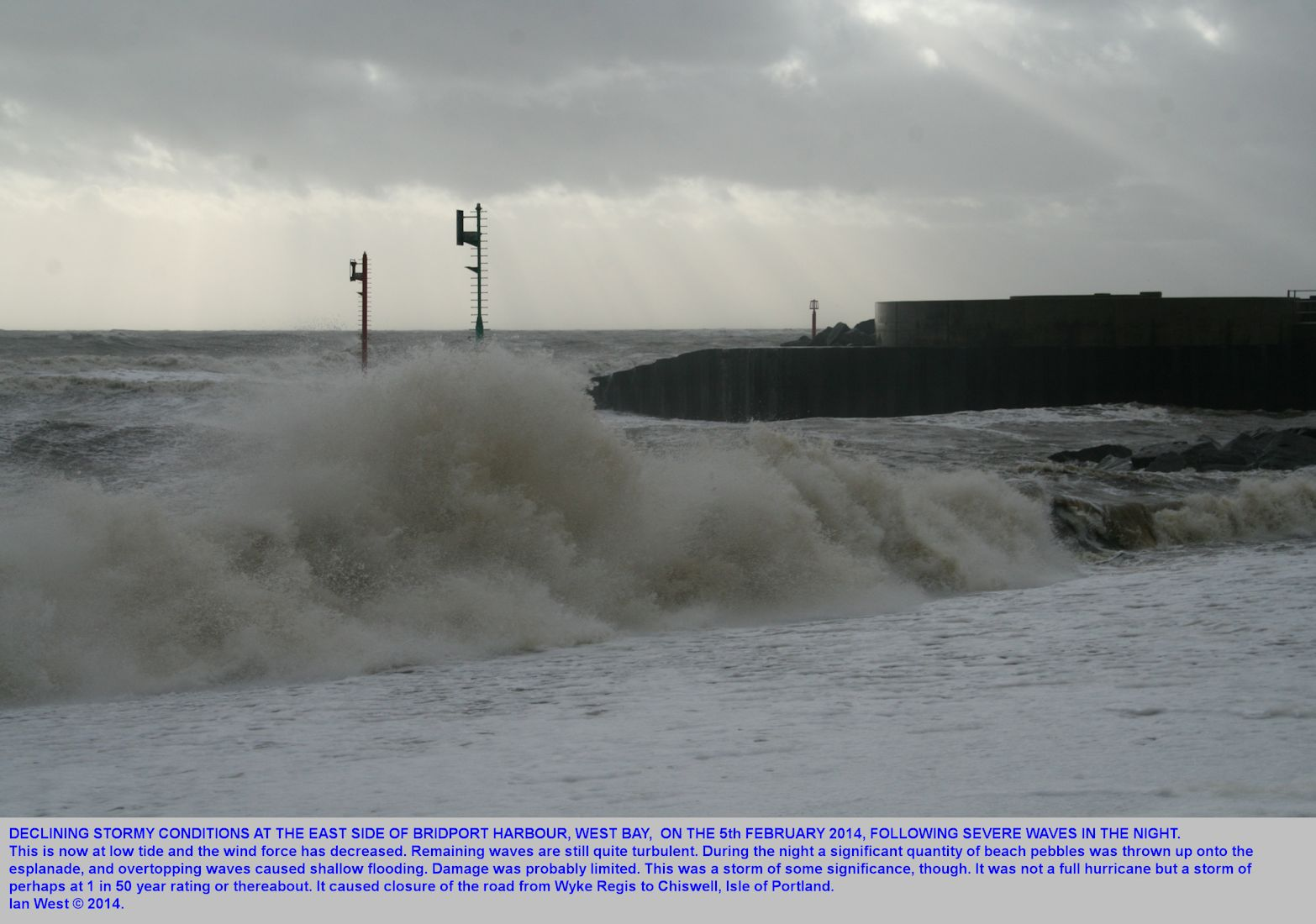 West of the harbour entrance during the declining phase of a storm at West Bay, Bridport, Dorset, 5th February 2014