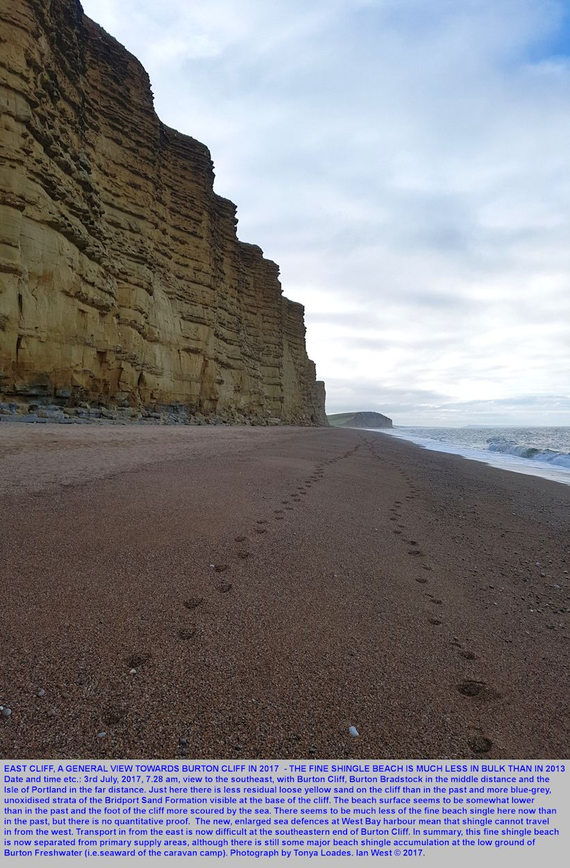 On the 3rd July 2017, the East Cliff at West Bay, Bridport, Dorset, shows evidence of scouring and of a reduced beach at the base