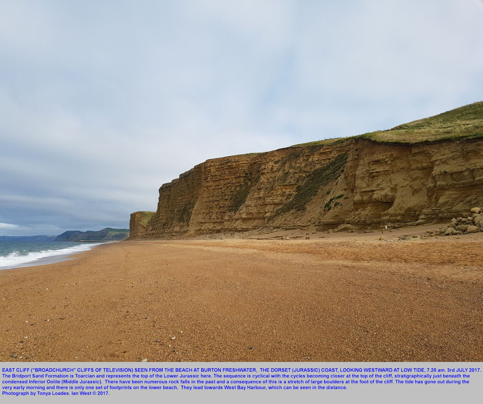 East Cliff, West Bay, Dorset, as seen from Burton Freshwater at low tide in the early morning, photograph by Tonya Loades