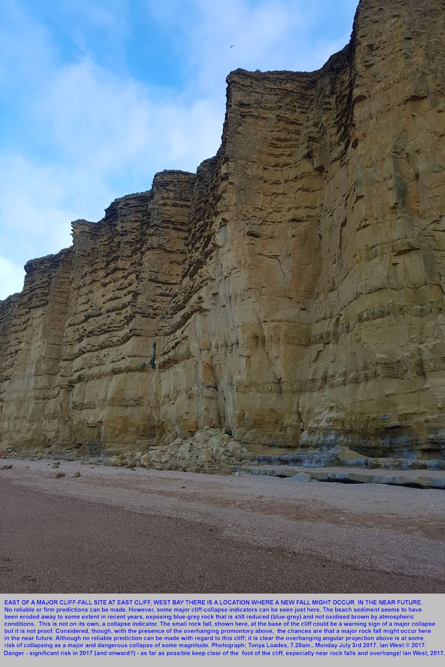 A particular hazard area at East Cliff, near West Bay, Bridport, Dorset, and where there is an overhang and there has been a small rock fall - and there might be a much larger fall