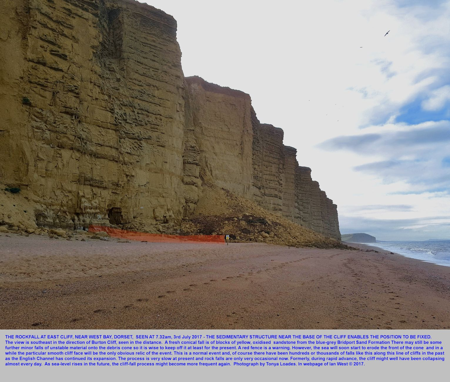An usually large rock fall from the Bridport Sand Formation (Lias) of East Cliff, West Bay, Bridport, Dorset, as seen on the 3rd July 2017 by Tonya Loades