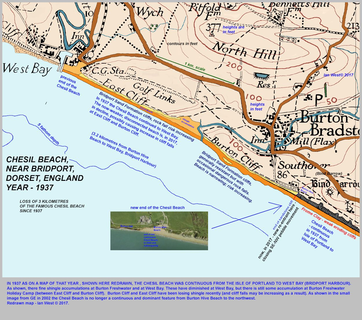 A modified, 1937 topographic map of West Bay, East Cliff and Burton Cliff, near Bridport, Dorset, in 1937, showing the then-continuous Chesil Beach from Portland to West Bay, but now broken at Burton Hive Beach, Ian West 2017