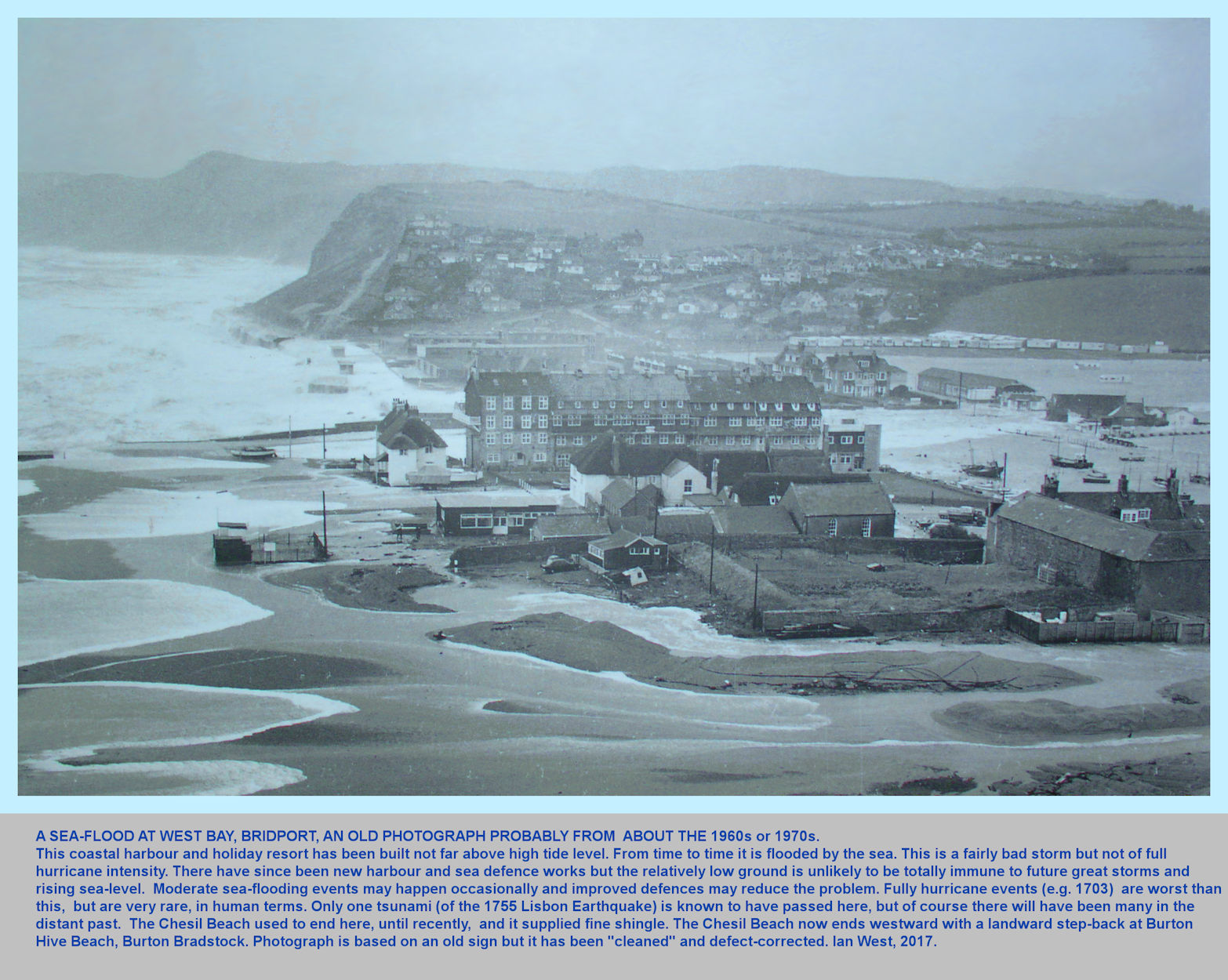 West Bay, Bridport, Dorset, some years ago, on the occasion of a major storm and sea flood