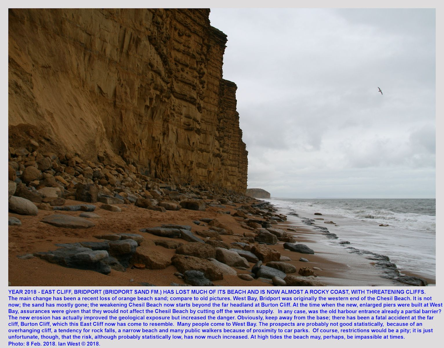 Close view of East Cliff, West Bay, Bridport, Dorset, with a narrow and eroded beach adjacent to vertical cliffs of Bridport Sand Formation, 8th February, 2018