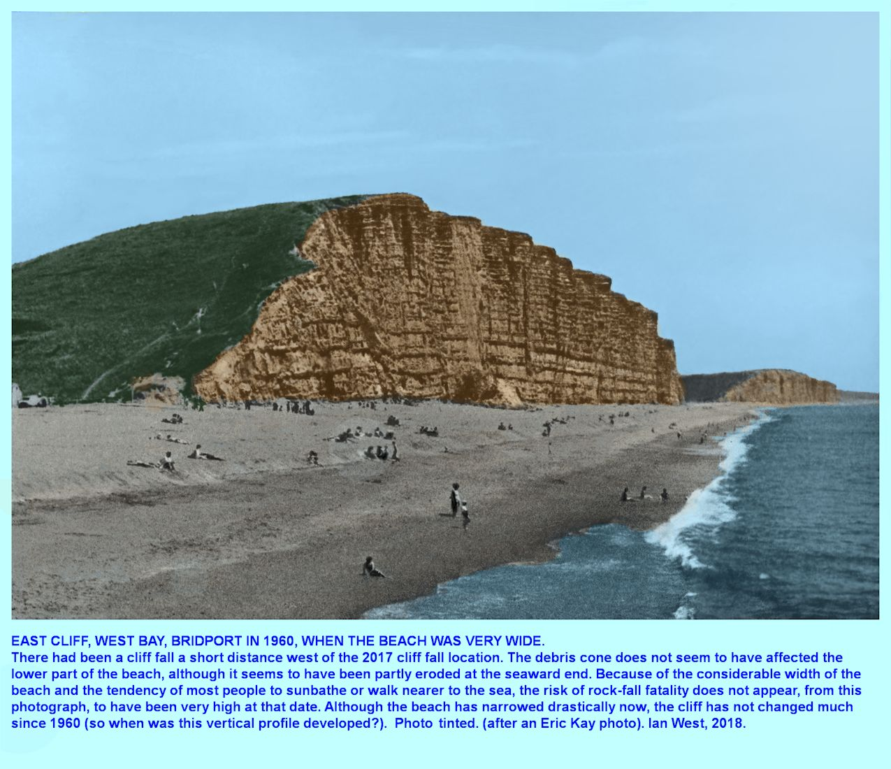 View from pier of East Cliff, West Bay, Bridport, Dorset, in 1960, tinted photograph of a monochrome picture by Eric Kay, the local field trip leader