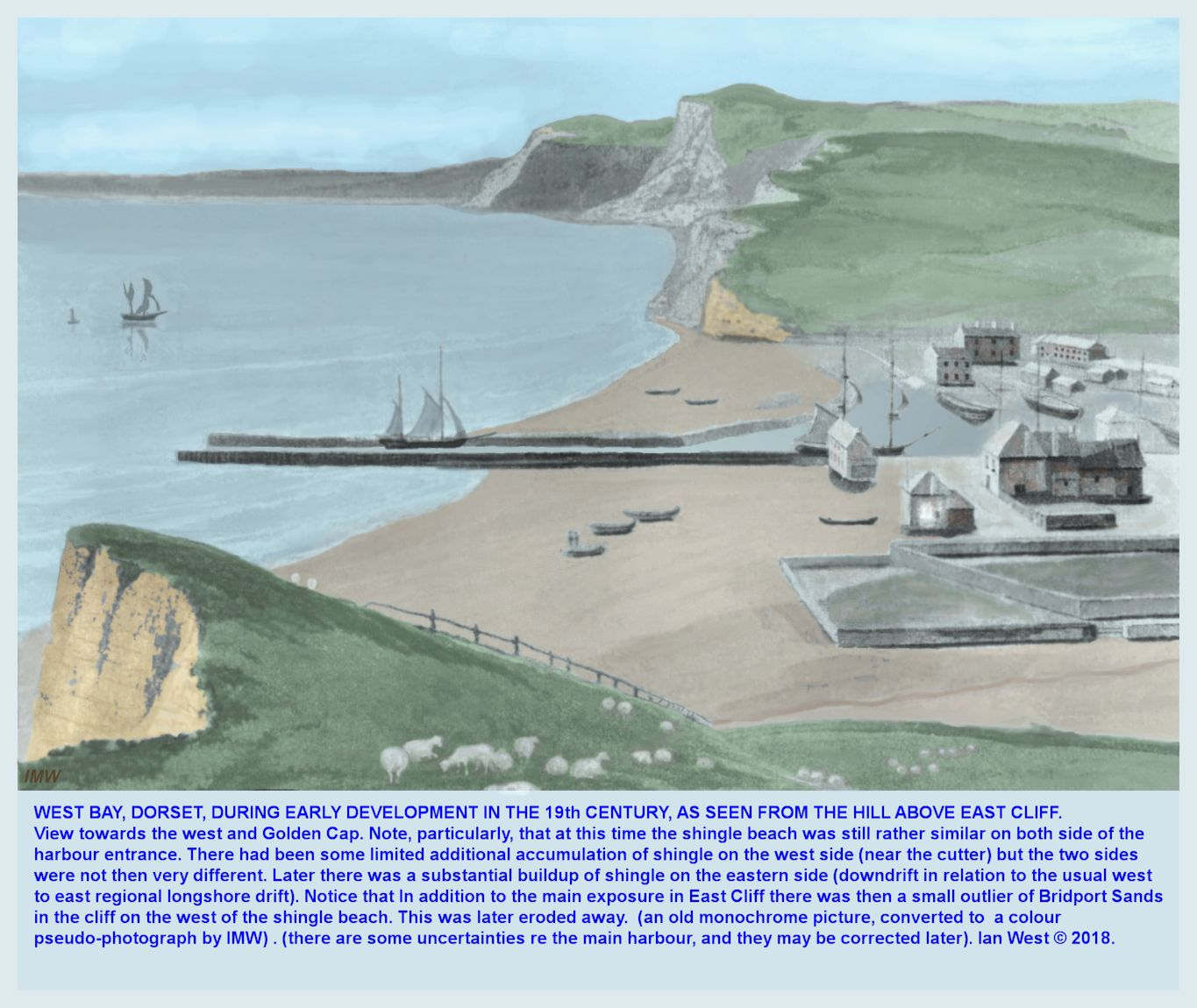 An old image of Bridport Beach and Harbour, to show the distribution of shingle in the early days of the harbour, - reconstructed as a new image in colour, and with bit-by-bit smoothing, and contrast changes etc, by Ian West