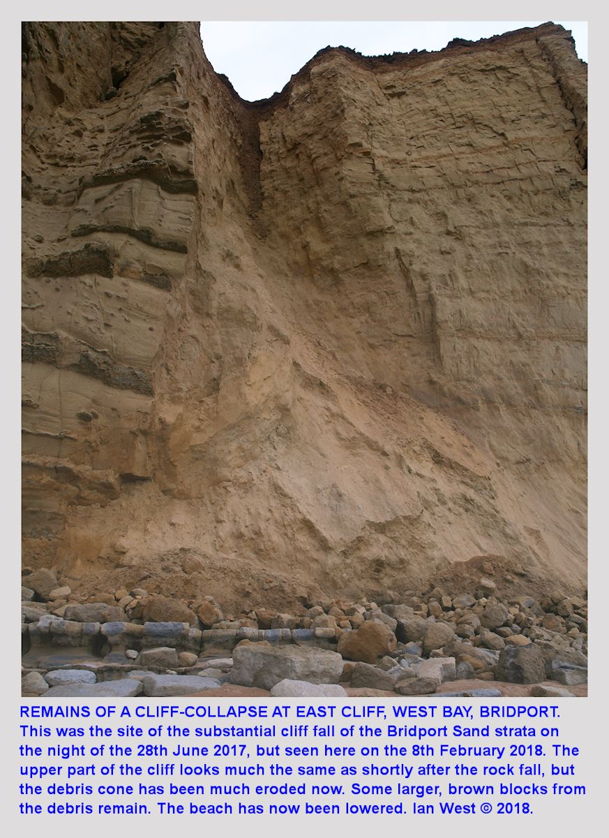 The major rock fall from the Bridport Sand Formation at East Cliff, West Bay, Bridport, of the 3rd July, 2017, as seen on the 8th February 2018