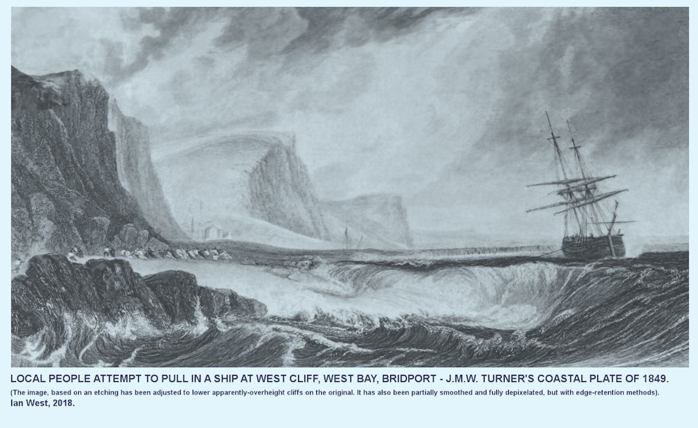 A modified version of a 1849 etching of J.M.W. Turner, giving a view of Bridport Harbour and showing local people trying to pull in ship during a storm