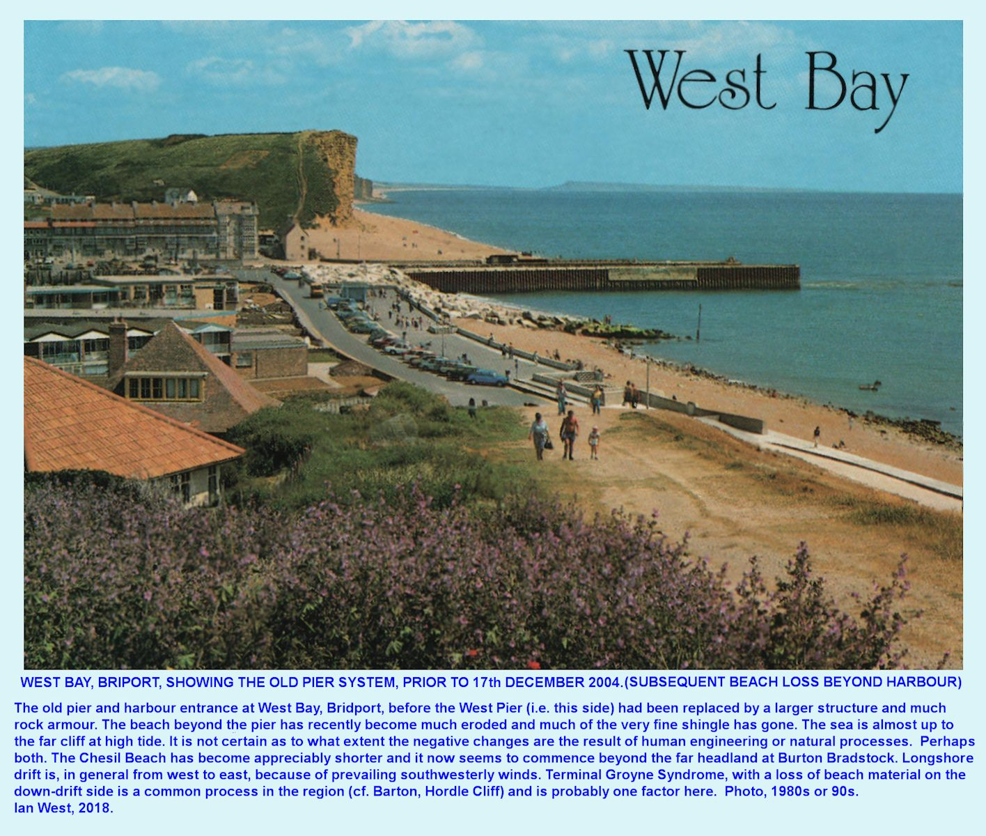 View, old postcard modified, looking eastward of the old piers and harbour entrance of West Bay, Bridport with, at that time, much very-fine silt still present on the far side, and before the recent beach loss there