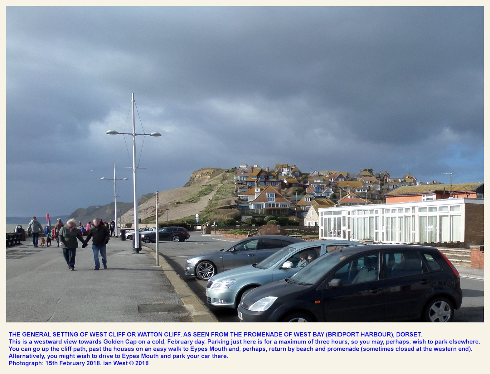 An introductory view westward from the promenade west of West of West Bay or Bridport Harbour, towards West Cliff or Watton Cliff, February 2018