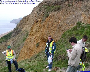 Thorncombe Sands and the fault-plane at Fault Corner, near Bridport, Dorset